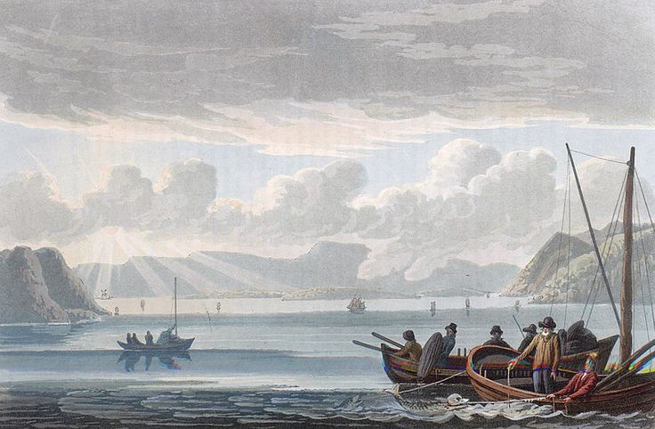 """Dram Bay (JW Edy plate 46). English: """"Dram Bay"""" Norsk bokmål: «Drams fiord» Drawing by John William Edy (1760-1820) from his journey along the coast of Norway during the summer of 1800. Published in Boydell's picturesque scenery of Norway in 1820."""