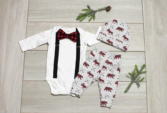 Baby Boy Christmas Outfit, Buffalo Plaid Coming Home Outfit, Newborn boys going home outfit, Buffalo Plaid. Bear. Moose. Infant Christmas #ad