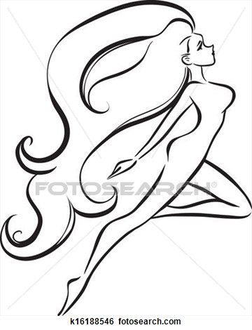 Slender girl with long thick hair View Large Clip Art Graphic