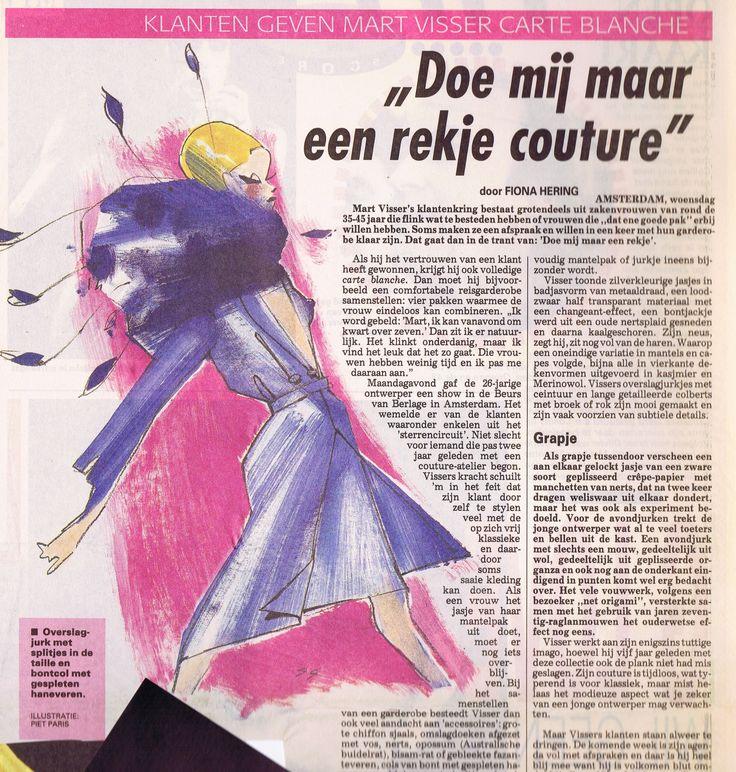 Mart Visser Haute Couture Autumn Winter 1994 Artikel uit de Vrouw, Illustratie van Piet Paris