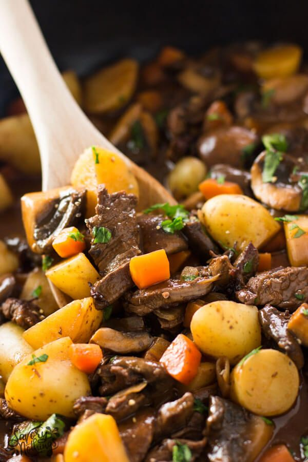 An easy One Skillet Beef Tips and Gravy recipe, completely made on the stovetop. Quick and easy to put together, this family dinner is on the table in just 45 minutes - most of it is hands-off! The dish is filled with tender beef tips as well as potatoes and vegetables (yay for mushrooms!) for a healthy all-in-one meal option. The rich gravy forms itself right in the pan - the absolute easy weeknight win!