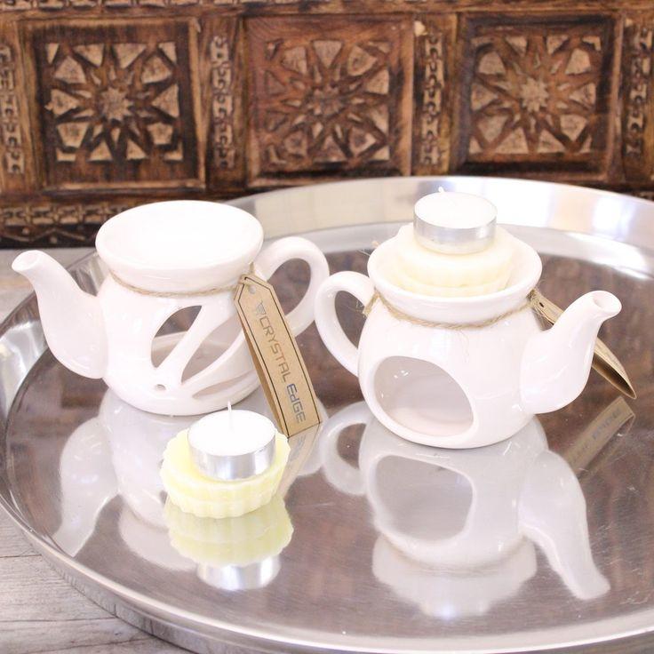 Set of 2 Teapot Shape Oil Burner with Wax Melts Gift Set – Crystal Edge