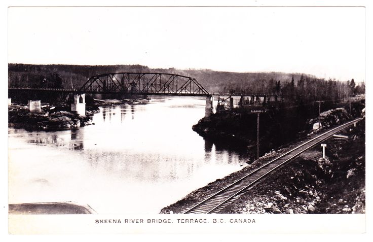 A circa 1924-1949 postcard view of the Skeena River bridge at Terrace, B.C.