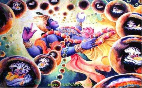 As per bhagavad puraan, Multiple Universes emerge from the Infinite pores of Shri Maha Vishnu's cosmic body each time the lord exhales. The Lord again enters EACH of these egg-shaped Universes in His SECOND form of Shri Garbhodak-shayi Vishnu