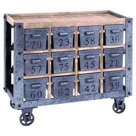"Pairing chic style with versatile design, this storage essential brings effortless organization to your home.Product: Kitchen cartConstruction Material: Wood and metalColor: Natural and grayFeatures:  Charming designEach of the 12 drawers are individually numbered and offers deep storage space Dimensions: 32"" H x 37"" W x 16"" D"