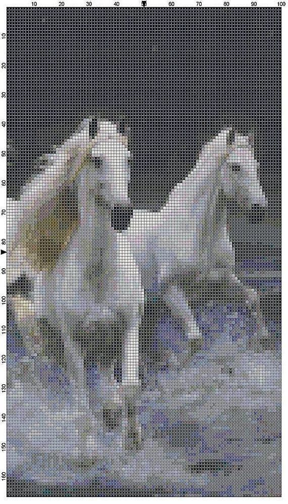 Cross Stitch Pattern White Horses Running by theelegantstitchery