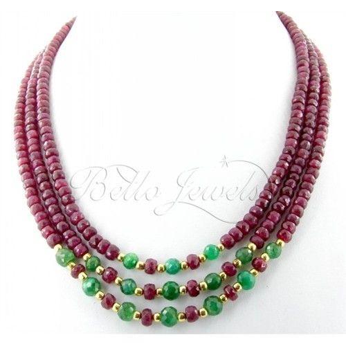 3 Strand Africa Ruby & Emerald Beads Designer Handmade Necklace- Free Earrings