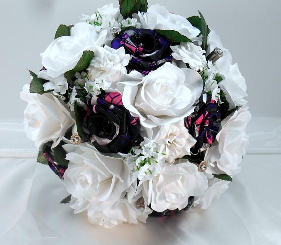 Camo Wedding #Bouquet, Muddy Girl Camo Bridal Bouquet, Muddy Girl Bouquet, Camo Wedding, White Bouquet, Country Bouquet, Bullet Shells  Handmade Muddy Girl Camo flowers spar... #bouquet