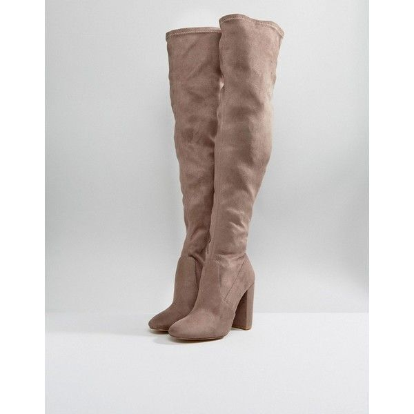 Lipsy Over The Knee Sock Boot ($151) ❤ liked on Polyvore featuring shoes, boots, over the knee high heel boots, side zip boots, rounded toe boots, high heel boots and over the knee boots