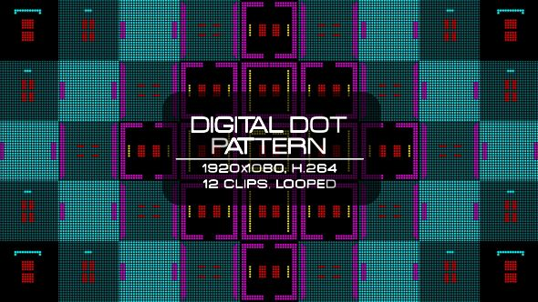 Digital Dot Pattern Video Animation | 12 clips | Full HD 1920×1080 | Looped | H.264 | Can use for VJ, club, music perfomance, party, concert, presentation | #blinking #colorful #dance #digital #disco #dots #dynamic #glow #loop #music #pattern #pixel #rave #sequence #vj