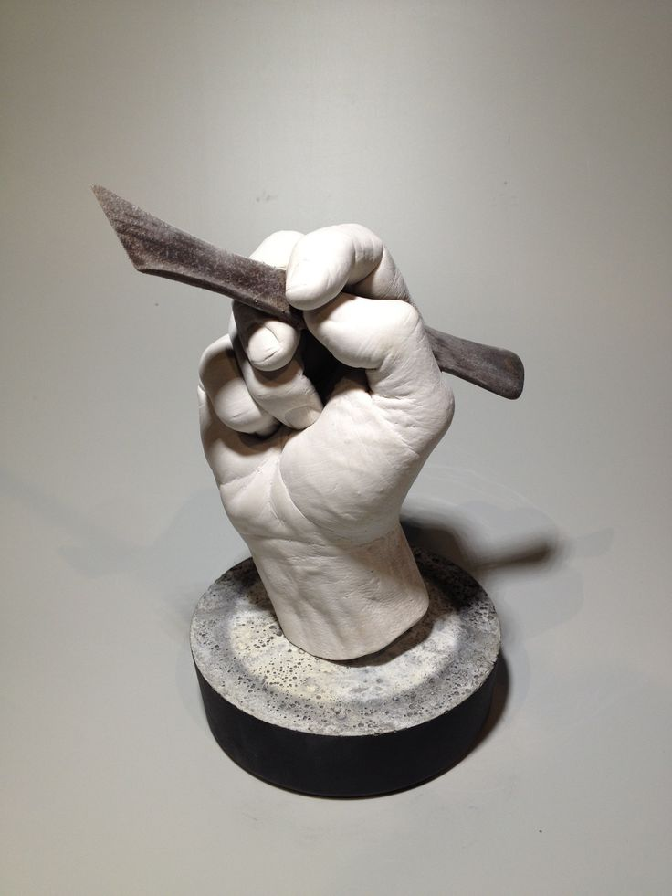 """""""Sculptor's tool"""" - This is a direct body cast of my hand holding a sculpting tool then the hand is cast in TufStone plaster but the real tool remains in place.  #EricTheSculptor"""