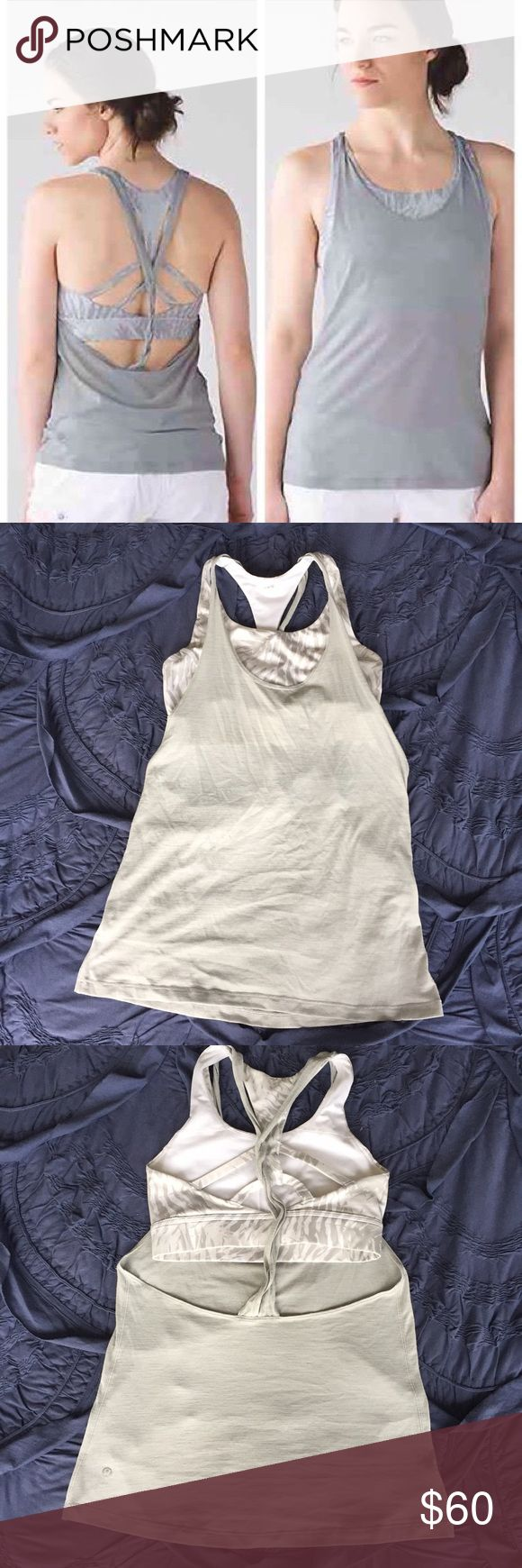 "Lululemon Twist and Toil tank Lululemon ""Twist and Toil"" tank, size 4. Heathered seal grey tank with attached sports bra in palm camel white nimbus. Super cute, just too small for me now! Like new. lululemon athletica Tops Tank Tops"
