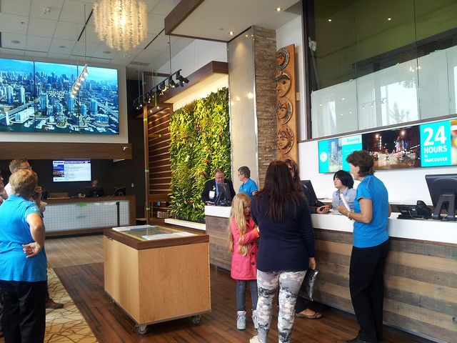 TT is over by the living wall - open 8:30-6 now open daily at 200 Burrard  Tourism Vancouver Visitor Centre Re-Opening | Photo credit: go2hr / Flickr