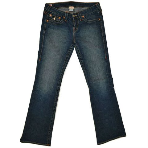 Sophisticated cut. Low key high style vibes.True Religion Becky Blue Denim Jeans Mid Rise Boot Cut Denim Jeans Size 28 S only $49