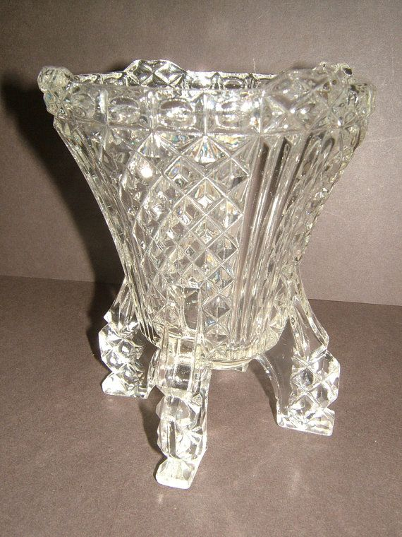 1930s Pressed Glass Art Deco 6 Inch Flower Vase by BiminiCricket