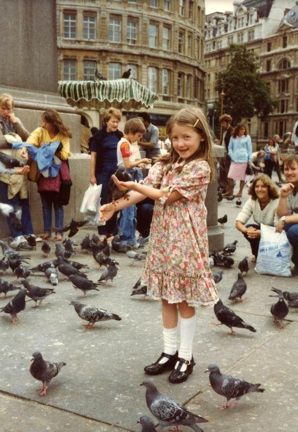 """Lucy feeding the pigeons in Trafalgar Square, 1981"""