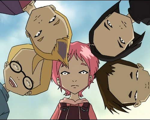 Code lyoko gang, from left to right: Aelita (with the pink hair), Ulrich, Yumi, Odd, and Jeremy