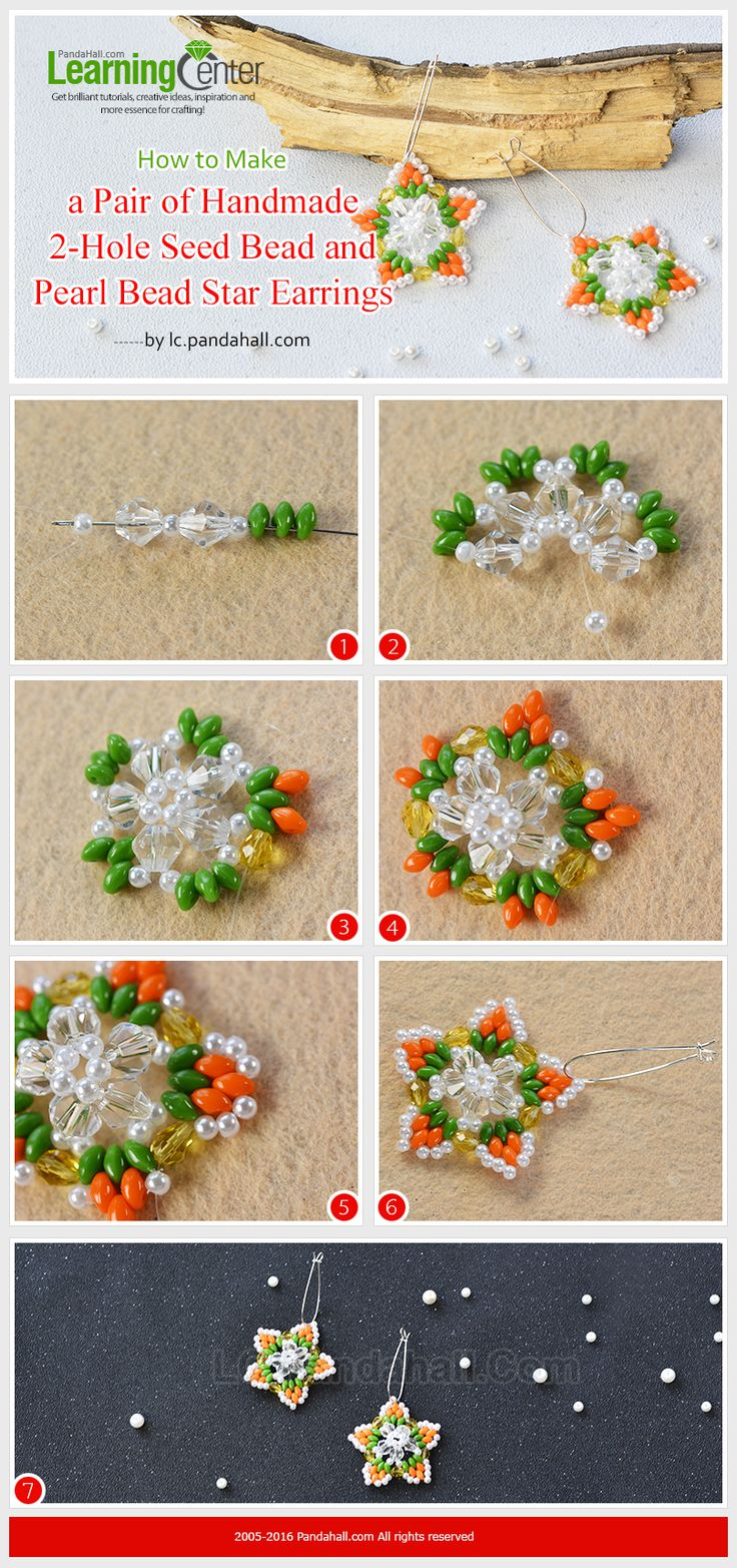 Tutorial on How to Make a Pair of Handmade 2-Hole Seed Bead and Pearl Bead Star Earrings from LC.Pandahall.com