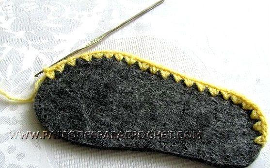 suela con borde tejido a crochet