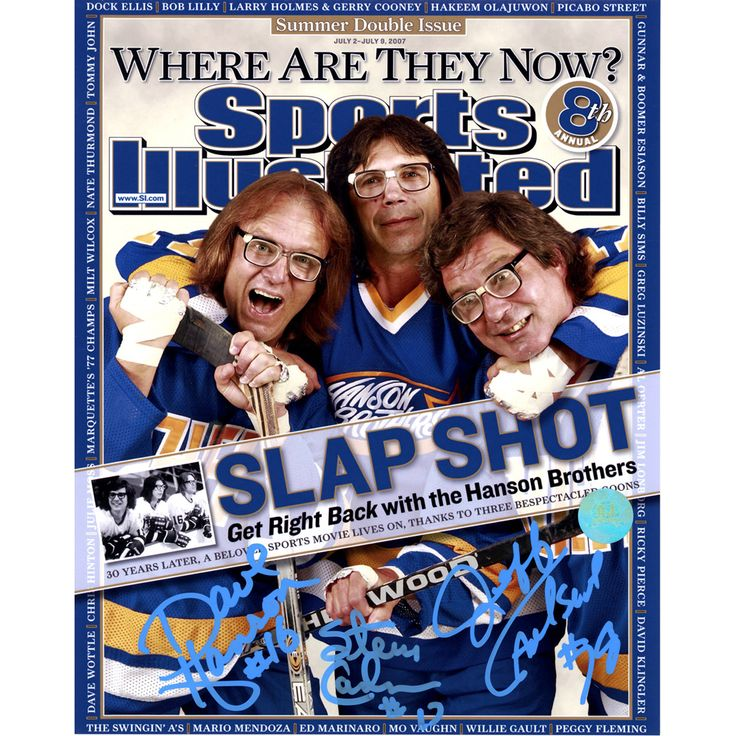The Hanson Brothers Signed Charleston Chiefs Slap Shot Sports Illustrated Cover 8x10 Photo (AJ Sports Auth)