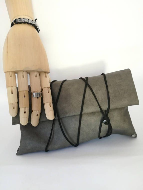 The Bag - Handmade handbag by faux leather , tight it with many ways with the suede black leather cord and make every appearance unique!