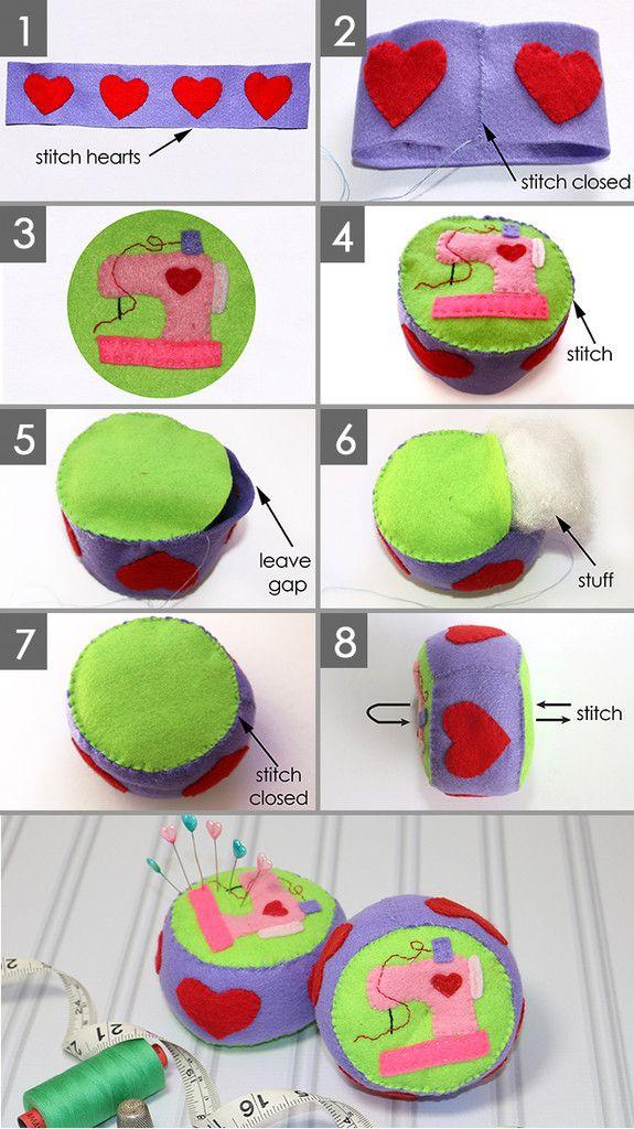 FREE sewing pattern - how to make a felt pincushion, pincushion pattern