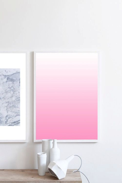 Minimalist art Pink print Ombre art Ombre print by simplegeometry
