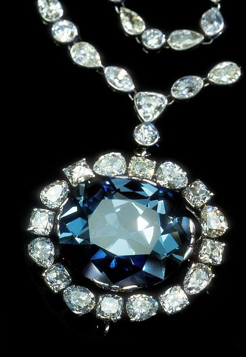 The Hope diamond returned to its Cartier setting. Housed at the Smithsonian.
