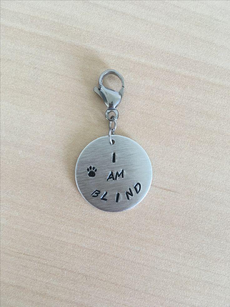 Dog tag. https://www.etsy.com/ca/listing/553089889/dog-tag-blind-dog-deaf-dog-blind-dog-tag?ref=ss_listing