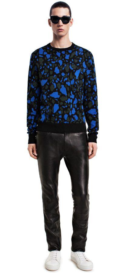 Depp fly black leather trousers #AcneStudios #menswear #PreFall2014