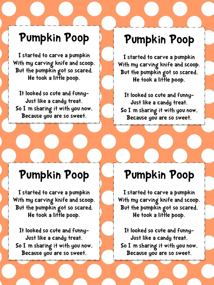 Pumpkin Poop Poem Freebie - attach to a bag filled with ...