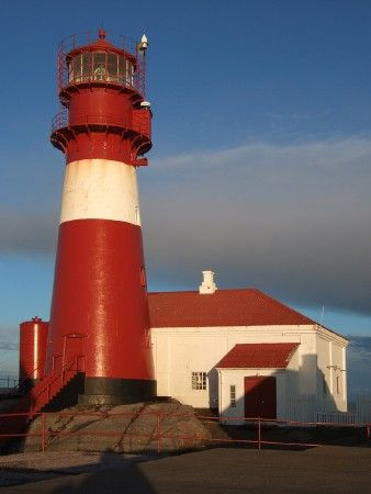 Lighthouses of Norway: Kristiansand Area. Ryvingen Lighthouse, Mandal, Norway. Red. White.