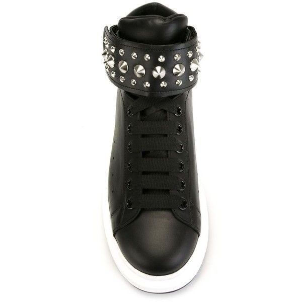 Alexander McQueen extended sole hi-top sneakers ($695) ❤ liked on Polyvore featuring men's fashion, men's shoes, men's sneakers, mens lace up shoes, mens velcro sneakers, mens high top sneakers, mens velcro high top sneakers and mens velcro shoes