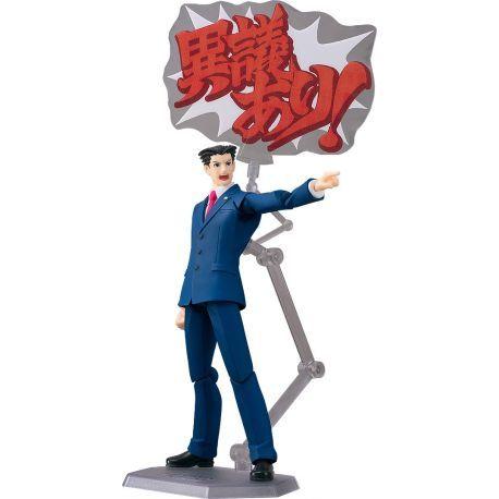 Figurine Phoenix Wright du jeu vidéo Phoenix Wright Ace Attorney articulée taille env. 15 cm, livrée sur socle. Modèle de la gamme figma disposant de nombreuses articulations spéciales pour des poses dynamiques et réalistes.