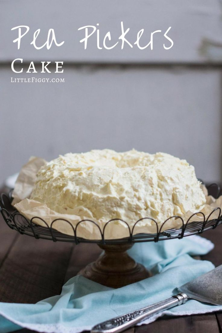 Pea Pickers Cake (also known as Cool Whip Cake), a childhood favorite that's easy to make and full of mandarin oranges and crushed pineapple! Recipe at Little Figgy Food