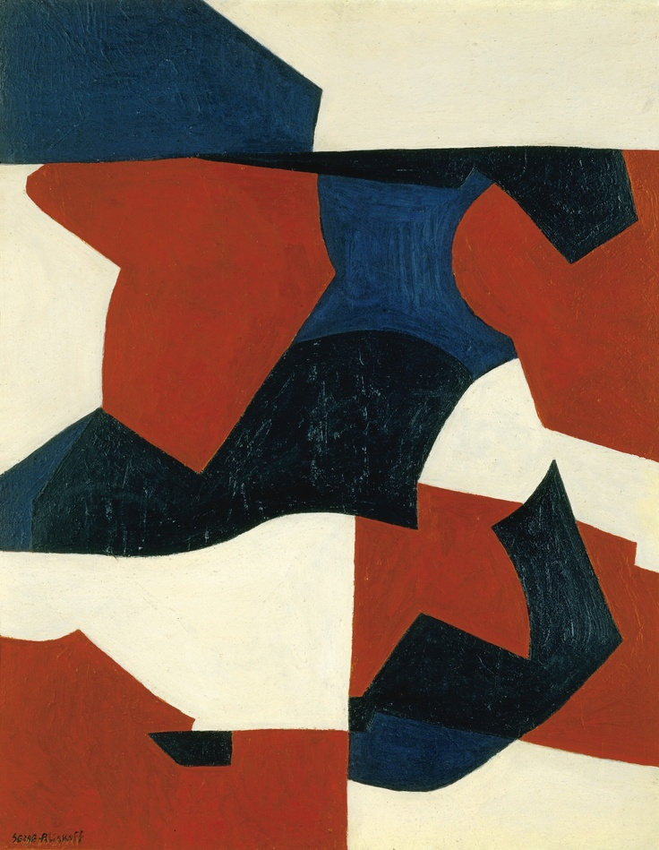 Serge Poliakoff  1906 - 1969  ROUGE, BLEU, NOIR ET BLANC  SIGNED; OIL ON CANVAS. EXECUTED IN 1949.