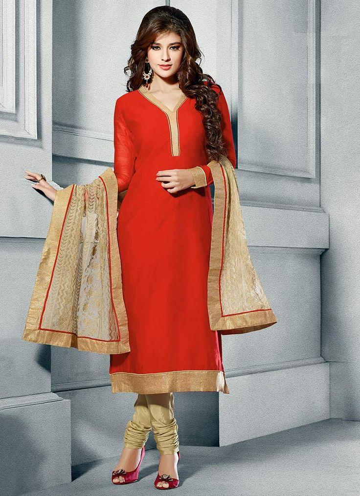 Red Chanderi Silk Churidar Suit - Clean cut