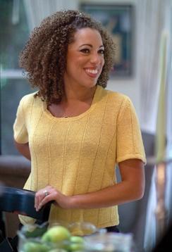 Dawn, #knit t-shirt, designed by Trudy Van Stralen for Louet, using Euroflax Linen