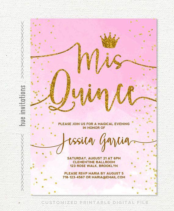 quinceañera invitation, pink watercolor gold glitter confetti crown, sweet 15th birthday quince invitation, printable digital file