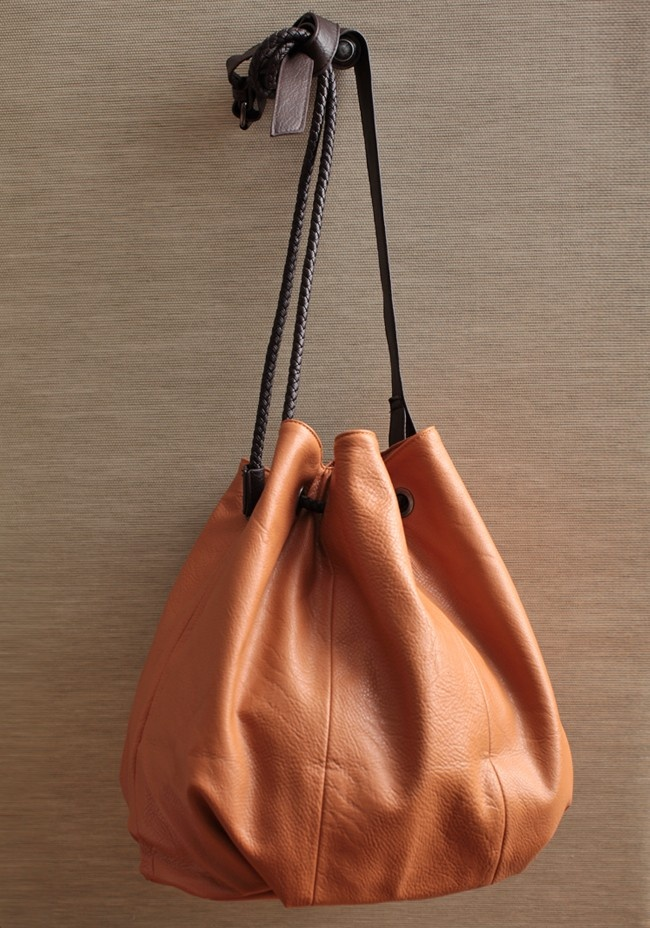 Montage Escape Camel Tote Bag make with recycled leather.