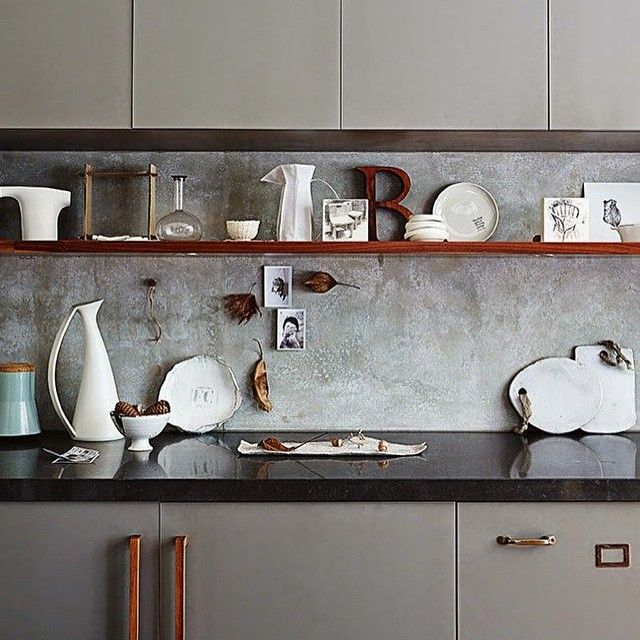 Kitchen inspiration #interiordesign #inspiration #concrete #iroko #frenchgrey #eclectic #reclaimed…