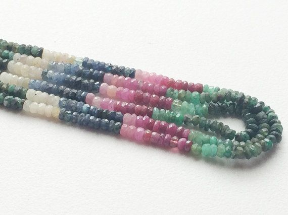 Multi Precious Gemstones Beads Emerald Sapphire by gemsforjewels