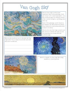 Van Gogh Sky Study - Free printable notebook page from @Barb Peterson Peterson