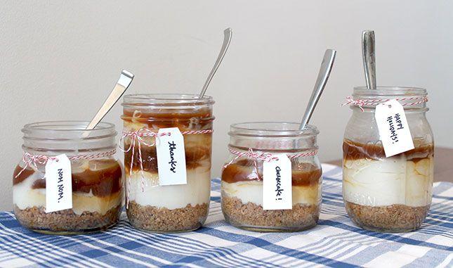 No-bake salted caramel cheesecake in a mason jar