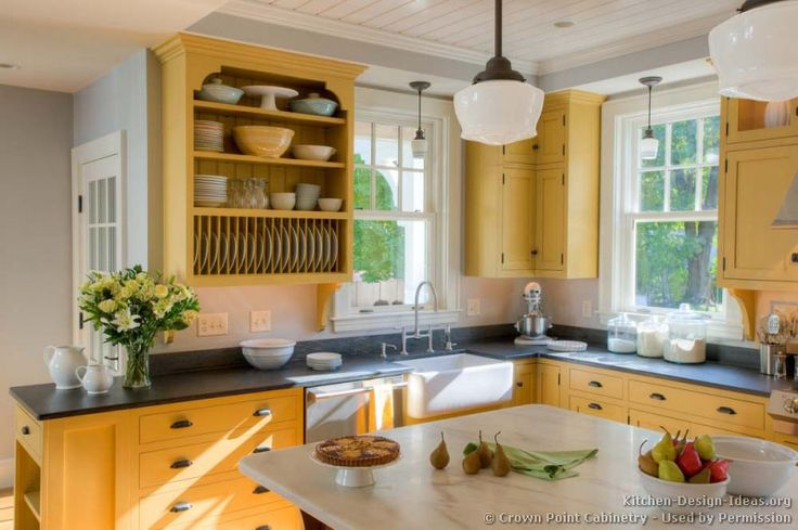#Kitchen Idea of the Day: A beautiful yellow country kitchen by Crown Point Cabinetry. LOVE.