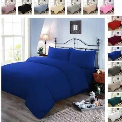 Plain Dyed Polycotton Duvet Cover with Pillow Case Set - Royal