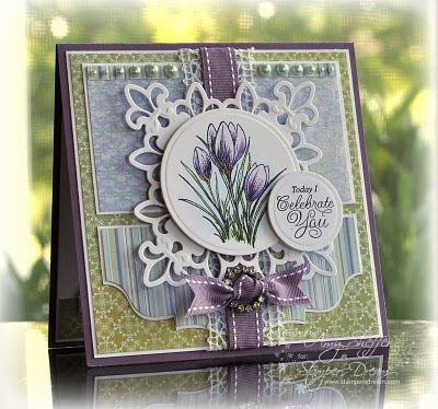 Flourishes stamps and copic - Spellbinders circle nestabilities and Fleur-de-Lis Pendant dies