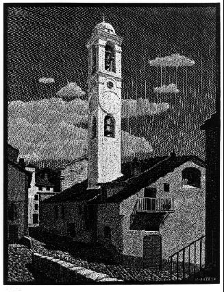Church at Corte, Corsica - M.C. Escher, 1933