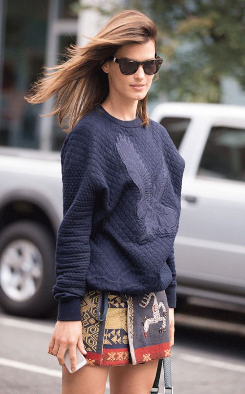 Hanneli Mustaparta spotted in our Autumn '13 midnight quilted jumper during New York Fashion Week.