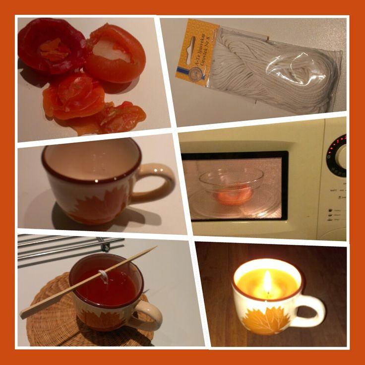 Zelf kaarsen maken in 10 minuten - je hebt alleen oud kaarsvet, lont en een kopje nodig.